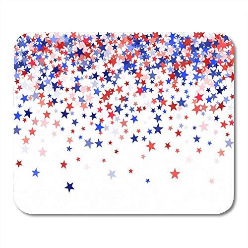 Mauspads Farben der USA kennzeichnen die blauen roten Sterne, die unten auf weiße Mausunterlage des amerikanischen Patrioten Day Mousepad Fallen