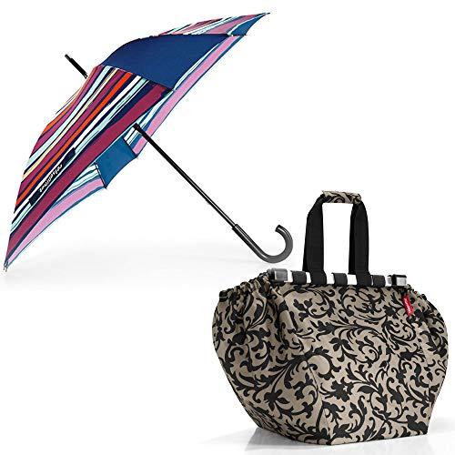 reisenthel Umbrella Regenschirm Stockschirm Langschirm Gehstockschirm Artist Stripes YM3058 mit Zugabe (+easyshoppingbag Baroque Taupe)
