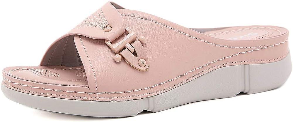 ZAPZEAL Women Slide Sandals Flat Slippers Open Toe Slip On Low Heel Dressy Casual Summer Sandals Confort Walking Sandals Lightweight Outdoor Shoes, Size 6-8.5 US