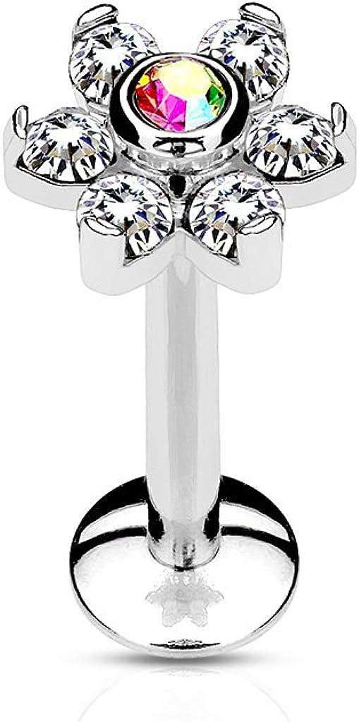 Amelia Fashion 16 Gauge 6 Gemmed Flower Top Internally Threaded Monroe/Labret/Cartilage Stud 316L Surgical Steel (Choose Color)