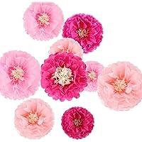 Flores de papel de seda, flores de crisantía, manualidades para bodas, guarderías, decoración de pared, pompones (9 piezas)