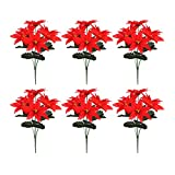 MSUIINT Ramo de flores artificiales rojas de Poinsettia, 6 unidades, flores de Navidad para el hogar, jardín, decoración de Navidad para interiores y exteriores