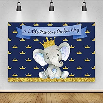 Dashan 8x6ft Polyester Baby Shower Backdrop Gray Elephant Golden Crown a Little Prince is On His Way Photography Background Boy Portrait Sweet Cake Table Banner Decoration Supplies Photo Booth Props