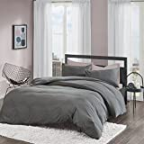 Non-Iron Plain Brushed Duvet Cover Set Double Size - 2 Pcs Ultra Soft Hypoallergenic Microfiber Quilt Cover Sets - Grey