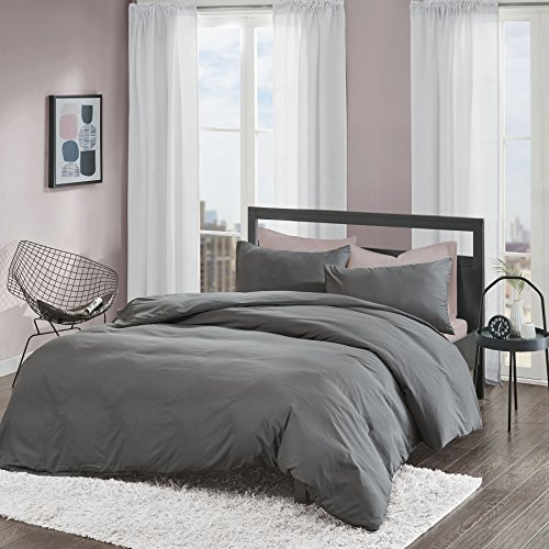Brushed Duvet Cover Set Double Size - 3 Pcs Ultra Soft Hypoallergenic Microfiber Quilt Cover Sets - Grey