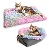 Withu Pet Bed for Cats Small Dogs, Function 2 in 1 Plush Soft Blanket and Donut Bed for Indoor Cats Warm Fluffy Pet Bed Mat for Kittens Puppy Dog Rainbow