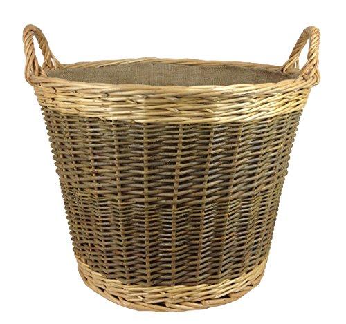 Unpeeled & Buff Willow Wicker Round Log Basket - Lined (Medium)