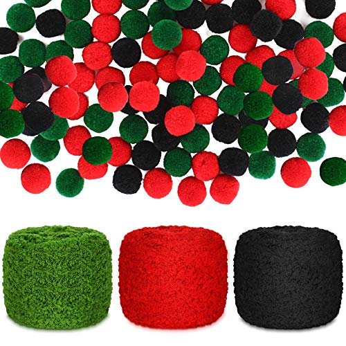 150 Pieces 1.5 cm Colorful Pompoms Craft Pompom Balls DIY Fluffy Balls and 3 Pieces DIY Hand-Knit Woven Yarn Bag Blanket Cushion Yarn for DIY Craft Handicrafts Decor (Black, Red, Green)