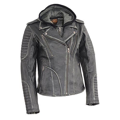 Milwaukee Leather MLL2516 Women's Leather Black Rub off M/C Jacket with Full Hoodie Jacket Liner - Medium