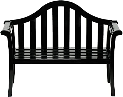 Achla Designs Camelback Wood Garden Bench, Black