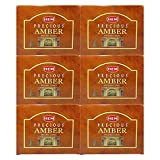Hem Precious Amber Pack of 6 Incense Cones Boxes, 10...