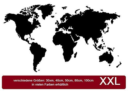 Weltkarte Aufkleber map of the world Sticker Aufkleber, erhältlich in 30x20cm, 40x25cm, 50x30cm, 80x45cm, 100x55cm für Ihr Wohnmobil Wohnwagen Caravan oder als Wandtattoo 210/1 (80x45cm, weiß glanz)