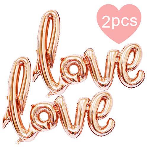 AMEHOM Love Luftballons, Rose Gold Partyballon Love Schriftzug Folienballon als Hochzeit Dekoration, Geschenk Oder Liebes-überraschung Zum Valentinstag