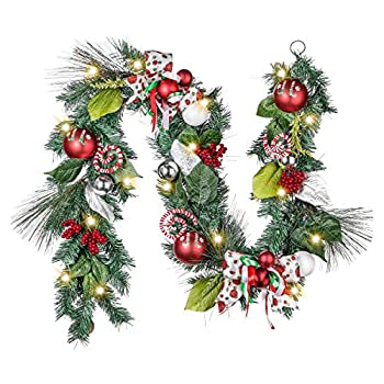 Valery Madelyn Pre-Lit 6 Feet Delightful Elf Christmas Garland with Ball Ornaments Berries Candy Canes Ribbons and Flowers Battery Operated 20 LED Lights
