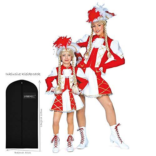WOOOOZY Damen-Kostüm Tanzmariechen rot-weiß Gr. 48 - inklusive praktischem Kleidersack