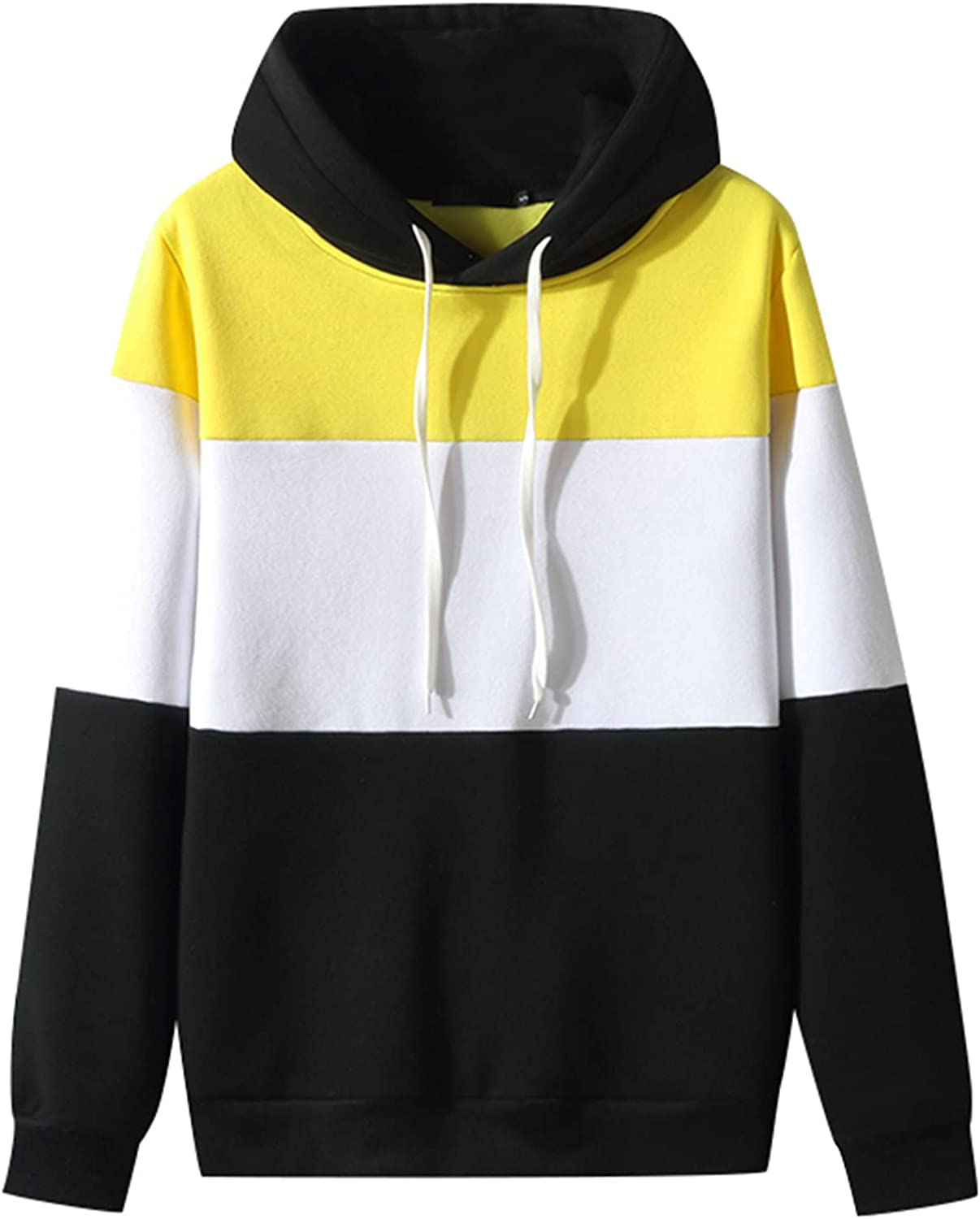 Huangse Hooded Sweatshirt for Men Autumn Winter Sports Jackets Fahion Color Block Long Sleeve Pullover Shirt with Pockets