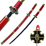 Zisu Carbon Steel Roronoa Zoro Sword, Kitetsu Katana for Cosplay Collection, About 41 inch Overall, Red Sword