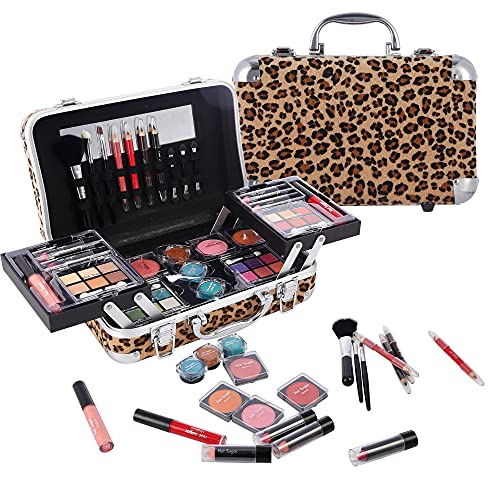 Hot Sugar Makeup Kit Gift Set for Adults and Girls-Full Makeup Kit for Beginners Includes Eye Shadow Palette Blush Lip Gloss Lipstick Lip Pencil Eye Pencil Brush Mirror