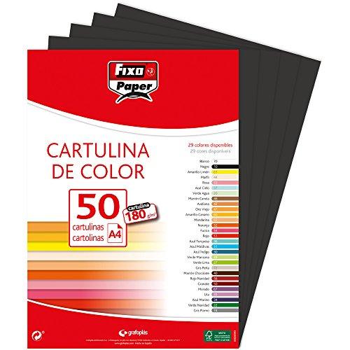 Fixo Paper 11110310 – Paquete de 50, cartulina negra A4, 180g