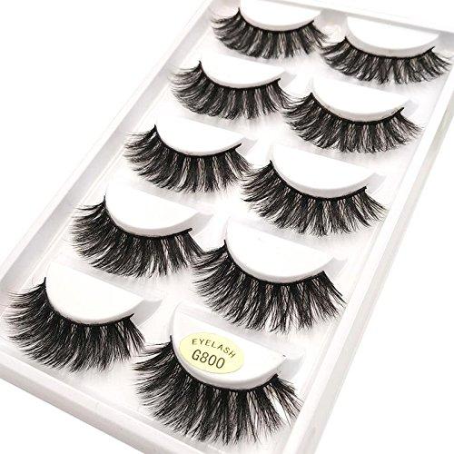 5 Paires 3D Naturel Faux Cils Réutilisable Moelleux Bande D'Oeil Cils Longue Extension -Faux Cils Pour Maquillage Quotidien, Soirée, Mariage, Fête-G800