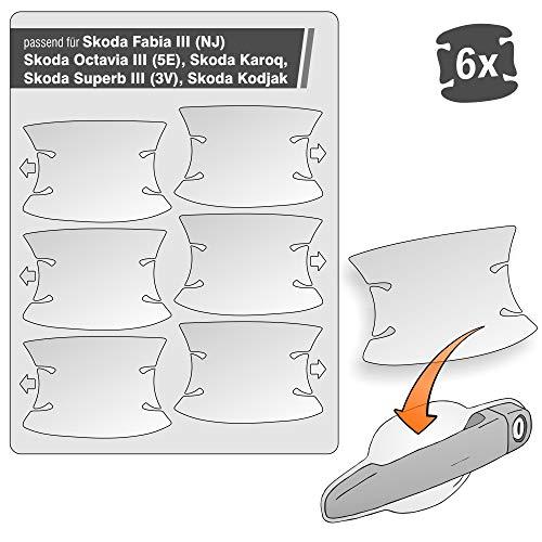 Lackschutzshop - transparente Lackschutzfolie 6er Set 100% passend für Skoda Modell Siehe Beschreibung, Schutzfolie gegen Kratzer in Griffmulden, Türgriffen und Griffschalen (Skd_Typ1)