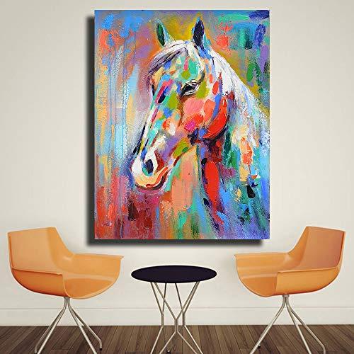 sanzangtang Kleurrijke paarden Posters en afdrukken Afbeeldingen Canvas olieverfschilderij Decoratie Olieverfschilderij Woonkamer Decoratie Schilderij Frameloos