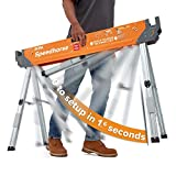 Bora Portamate Speedhorse Sawhorse - Single Piece Table Stand with Folding Legs, Metal Top for 2x4, Heavy Duty Pro Bench Saw Horse for Woodworking, Carpenters, Contractors, PM-4500