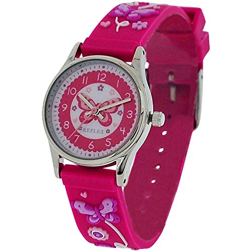 Reflex Time Teacher Kids Pink 3D Butterfly Watch REFK0011 + Telling Time Award