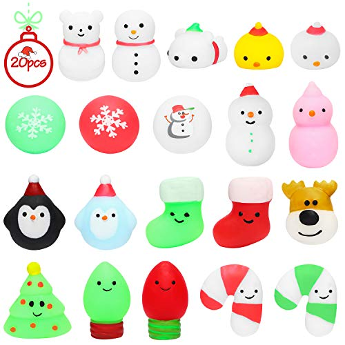 MALLMALL6 20Pcs Christmas Mochi Squeeze Toys for Kids Party Favors, Kawaii Animal Squeeze Stress Relief Toys for Christmas Decoration Treat Bags Gifts, Birthday Gifts, Classroom Prize, Goodie Bag