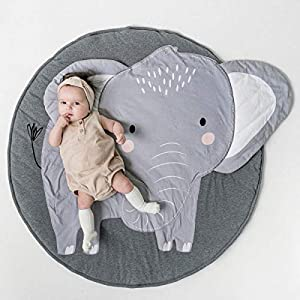 Wallfire 90cm 100% Cotton Baby Nursery Rug Kids Round Play Mat Infant Crawling Mat Floor Playmats Washable Game Blanket Tummy Time Baby Play Mat for Babies