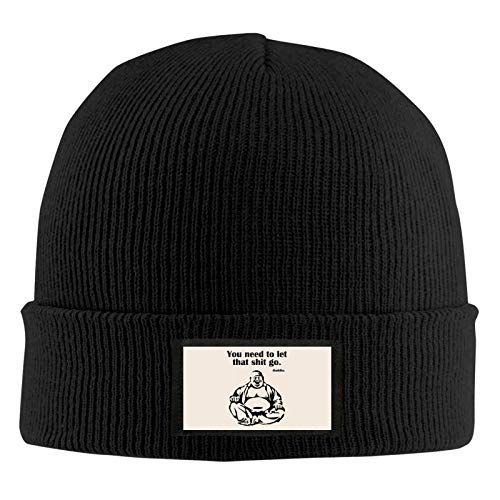 You Need to Let That Shit Go Fat Buddha Beanie Winter Hat Soft Stretch Thick Knitted Cap for Cold Weather Unisex Black