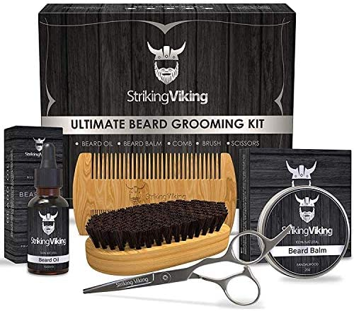 Striking Viking Beard Grooming Kit for Men Natural Beard Care Products Set with Organic Beard product image