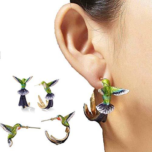 PHLPS Lindo colibrí Pendientes Volando Pendientes de colibrí Volantes Voluntarios Pendientes de Pintura al óleo para Las Mujeres Pendientes de Animales Coloridos Pendiente de joyería