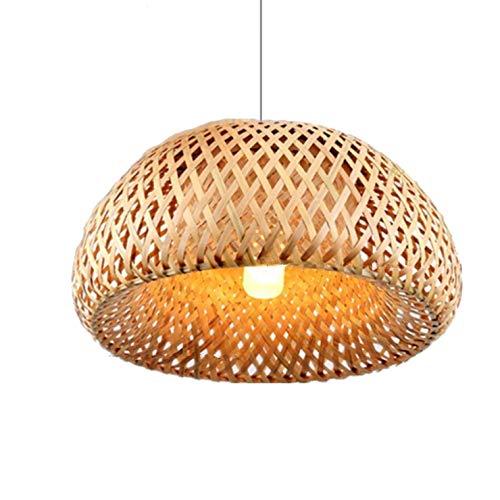Wlnnes Lámpara colgante de tejido a mano de bambú natural de la rota de la lámpara de bambú Pantallas de iluminación, Estilo linterna luz pendiente retro, luz de techo de madera de la lámpara de mader