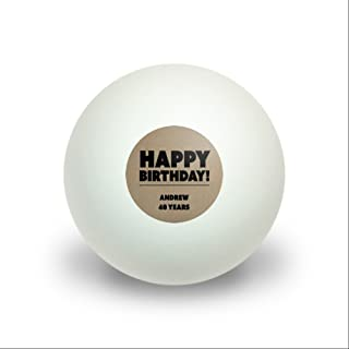 Graphics and More Personalized Custom Happy Birthday Textured Kraft Design Novelty Table Tennis Ping Pong Ball 3 Pack
