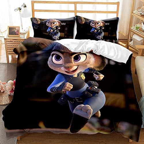 Juego de cama con funda nórdica de animación 3D para niños de Crazy Animal City, cama individual, ropa de cama doble, funda de edredón suave y cómoda, textiles para el hogar-A_210X210cm (3pcs)