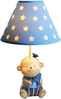 Little Monkey Table Lamp, Children's Room Side Table Reading Lamp, Unique Love Learning Monkey Lamp Body with Blue Star Lampshade Design, Bedroom Living Room Night Light