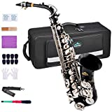EASTROCK Alto Saxophone Black/Nickel E Flat Sax Full Kit for Students Beginner with Carrying Case,Mouthpiece,Mouthpiece Cushion Pads,Cleaning Cloth&Cleaning Rod,White Gloves,Neck Strap