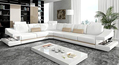 Bullhoff by Giovanni Capellini Ledercouch Ecksofa L-Form weiß/Ecru beige Eckcouch Wohnlandschaft Leder Sofa Couch mit LED-Licht Beleuchtung Designsofa Stuttgart