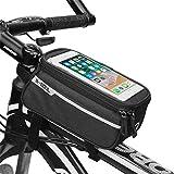 Zeagro Bolsa para manillar de bicicleta, soporte para teléfono de bicicleta, marco de bicicleta, tubo superior, soporte para teléfono móvil, impermeable, pantalla táctil para de hasta 6,5 pulgadas