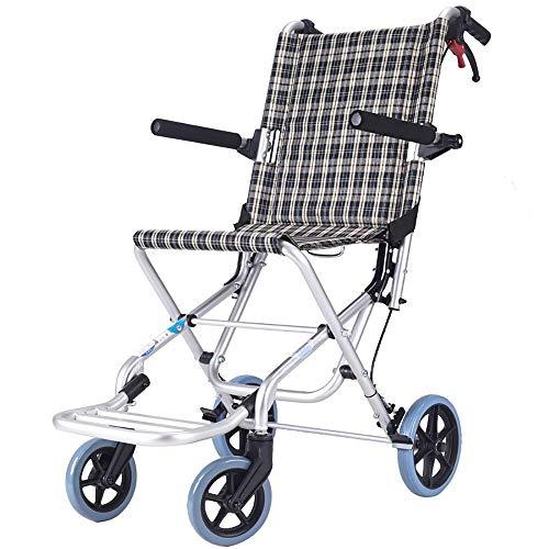 Aluminium rolstoel-lichtgewicht opvouwbare rolstoel met 360° anti-slip voorwiel en flipflops geschikt voor kinderen, een reisopbergtas als cadeau (kleur: grijs)
