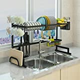 Over The Sink(33') Dish Drying Rack black Topkitch (New Upgrade) With Utensils Holder, stainless steel (Sink size33in) counter space.