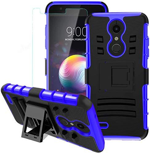 LG K30 Case,LG K10 2018/LG Xpression Plus/LG CV3 Prime/LG Harmony 2/LG Phoenix Plus/Premier Pro LTE Case w/Tempered Glass Screen Protector,Kickstand Heavy Duty Shockproof Protective Phone Cover