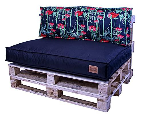 Juego de cojines de asiento de palé de 120 x 80 x 15 cm y cojín de respaldo de 120 x 40 x 15 cm, granulado