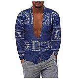 D-Rings Camisa de manga larga para hombre de otoño con botones, camisa para negocios, fiestas, oficina, ocio, moda impresa, manga larga, suave, azul, XXXXXL
