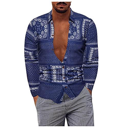 Camicetta Top Camicie T-Shirt Uomo Moda Casual Taglie Forti Camicia con Risvolto a Maniche Lunghe Stampa (XXL,13blu)