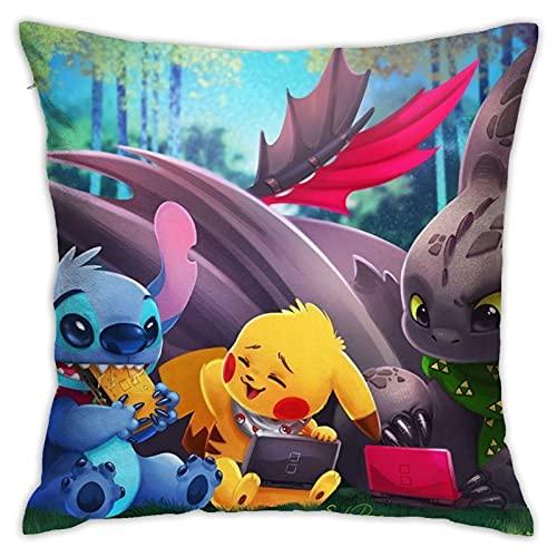 Kissenbezug Lilo & Stitch, Kissenbezug für Zuhause, Sofa, Schlafzimmer, Dekoration, 45 x 45 cm