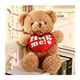 Hug me! 13 Inches Valentines Day Teddy Bear with Red Heart, Plush Bear Toy Stuffed Animal Gifts for Her/Him/Kids/Couple/Boys/Girls/Mom/Boyfriend/Girlfriend (Light Brown w. Heart)