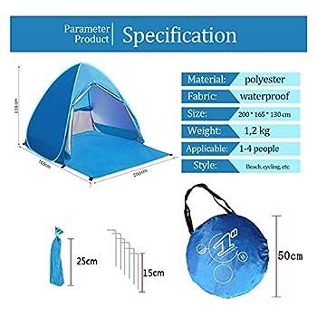 YINGJEE Grande tente de plage Pop Up avec protection solaire anti-UV SPF 50+ et étanche - Tente d'extérieur portable avec un verrou pour 2-4 personnes - 200 x 165 x 130 cm (L x l x h)
