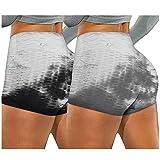 Lenfeshing 2PC Pantalones Cortos Deportivos de Cintura Alta Tie Dye Control de Abdomen Entrenamiento Correr Mallas Ejercicio